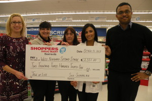 Shoppers Drug Mart in Beamsville donated just over $2,300 to West Niagara Second Stage Housing and Counseling (WNSS) through the Tree of Life campaign. (L to R) Emily Thompson, WNSS project director; with Shoppers employees Ann Marie Stevens, Darlene McGowan, pharmacist Sapna Gothi and associate owner Siva Sivapalan. Money was raised through staff and customers donations.