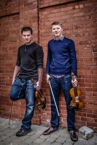 Connor Schmidt, left, and Andrew Robichaud will bring their Celtic musical stylings to Murray Street Park this Thursday night as part of The Happening at The Forty.