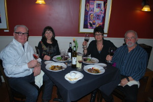 Among the crowd for the two sold-out dinner seatings were (L to R) John Howard, Kathy Rose, Mary and Woody Ellis.
