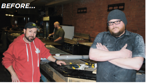 Co-owner Mark Wood, left, and Matt Russo took a break from reconfiguring the bar area about three weeks ago.