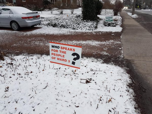 """A lawn sign that reads: """"Who speaks for the people of Ward 3?"""""""