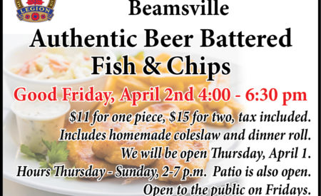 An advertisment for the Beamsville Legion's upcoming Good Friday Fiah & Chips dinner.