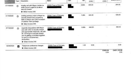 A scan of Mayor Jeff Jordan's invoice.
